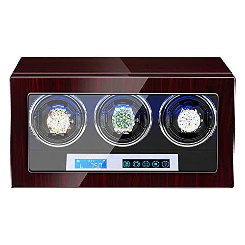 DGDD Devanadera Reloj LED, 3 Silenciosas Cajas Reloj Personalizadas Hombre Y Mujer, PortáTil 5 Modos Madera Palisandro Motor Almacenamiento Motor Ultra Silencioso