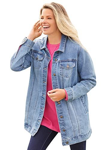 Woman Within Women's Plus Size Long Stretch Denim Jacket - 34 W, Light Stonewash Sanded Blue