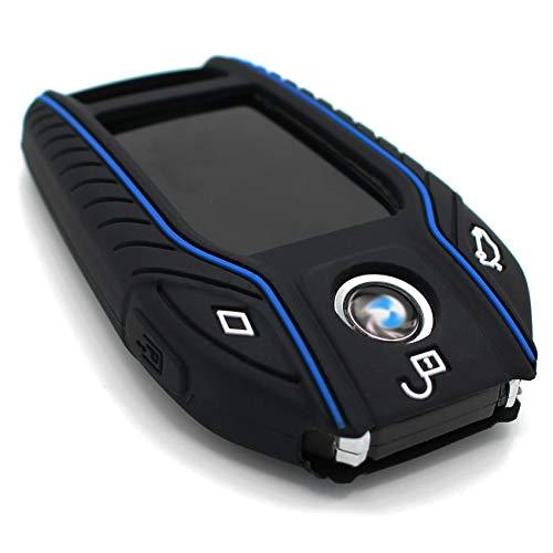 Schlüssel Hülle BF für 3 Tasten Auto Schlüssel Silikon Cover von Finest-Folia (Schwarz Blau)