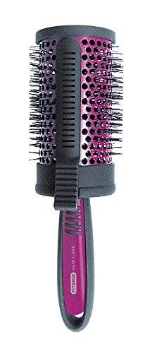Titania Sèche-cheveux Brosse ronde, diamètre Env. 7.2 cm avec clip, Noir/Violet, 1er Pack (1 x 133 g)