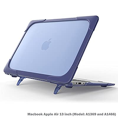 Macbook Air 13 inch Case, Wtiaw[Heavy Duty] Slim Rubberized [Snap on] [Dual Layer] Hard Case Cover with breathe and cool itself freely TPU Bumper Cover for (Model: A1369 and A1466)