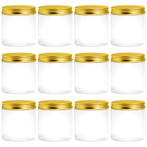 Clear Plastic 8 oz Jars With Lids, Slime and Craft Containers, Plastic Mason Jar for Cosmetics and Food Storage -12 Jars (Gold)