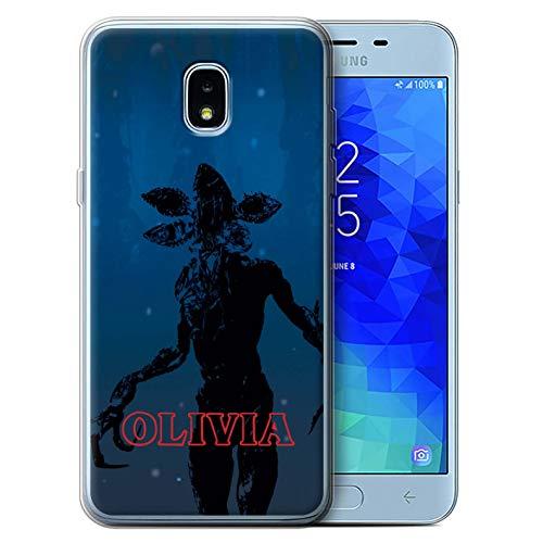 Personalized Custom Strange Retro Gel/TPU Case for Samsung Galaxy J3 2018/J337 / Demogorgon Monster Design/Initial/Name/Text DIY Cover