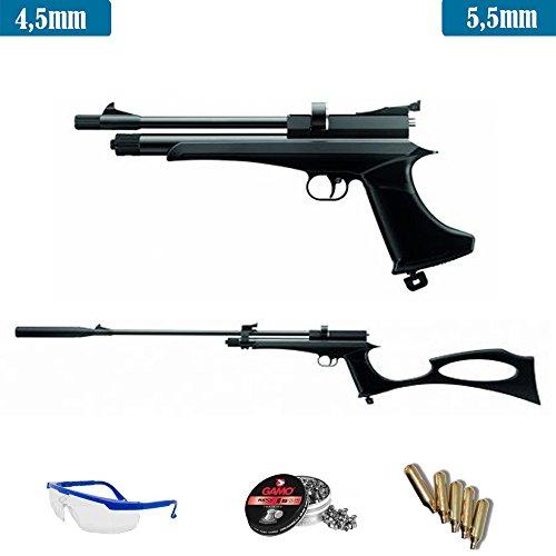 Ares Pack Pistola-Escopeta de Aire comprimido Stinger Arma de CO2 y balines (perdigones de Plomo Cal 4.5mm o 5.5mm)