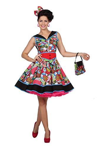 shoperama Damen Kostüm Pop-Art Comic Kleid 50er 60er Jahre Fifties Sixties Kunst poppig grell, Größe:46