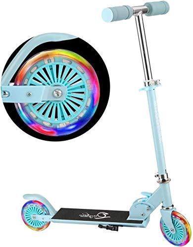 Scooter para niños con 2 ruedas plegable con freno trasero ajustable para manillar para niños y niñas a partir de 6 años