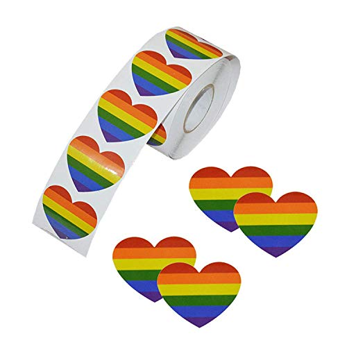 Wohlstand Rainbow Ribbon Sticker,500 Stück Gay Pride Sticker Herzform Liebe Regenbogen Aufkleber Streifen Herzform Rolle Klebeband 4*4cm für Gay Pride Feiern Herz