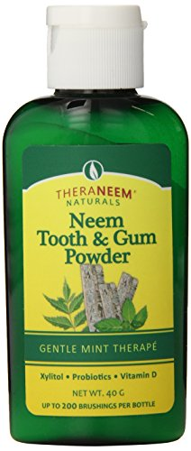 TheraNeem Tooth & Gum Powder | Supports Healthy Teeth & Gums with Probiotics, Vitamin D | Mint, 40 grams, Up to 200 Uses