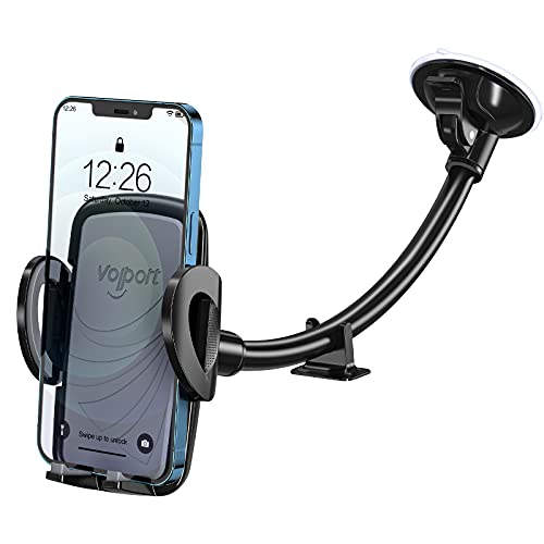 windows for iphones Windshield Car Phone Mount, Gooseneck Cell Phone Holder Car Window, Universal 360 Degree Rotation Long Arm Windscreen Suction Cup Cradle Flexible with Anti-Shake Stablier for iPhone, Samsung Galaxy