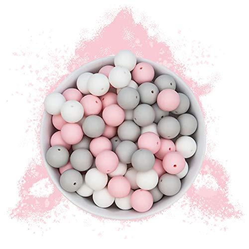 RUBY - 60 Cuentas de silicona, piezas de silicona alimentaria para montar chupeteros/collares/mordedor lactancia colores combinados (Dulce Sueño, Bolas Ø15mm)