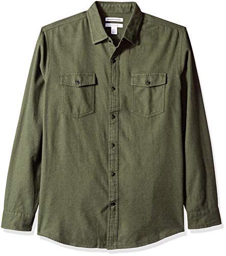 Amazon Essentials Men's Regular-Fit Long-Sleeve Two-Pocket Flannel Shirt, Olive Heather, Large