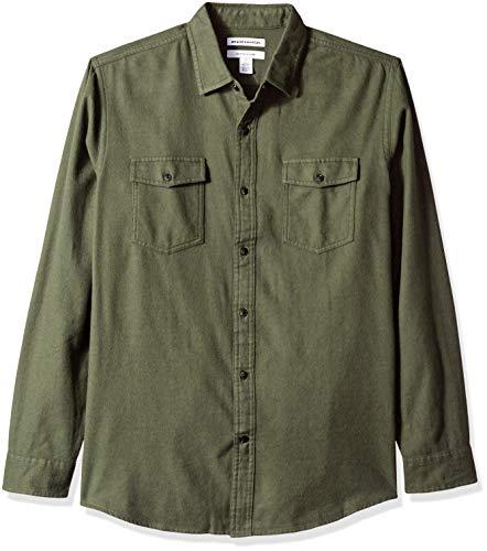 Amazon Essentials Regular-Fit Long-Sleeve Solid Flannel Shirt Button-Down-Shirts, Brezo Verde Oliva, US (EU XL-XXL)