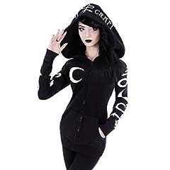 VERYCO Women Hoodie Jacket Gothic Casual Hooded Zip Up Long Sleeve Sweatshirt Top (Black (Print), UK 12 / Tag XL) #1