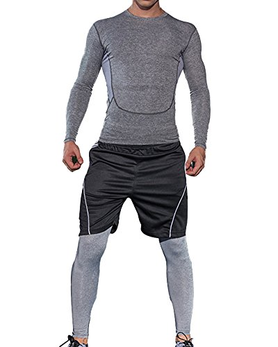 Hombre 3 Piezas Compresión Deportiva Camiseta+Hombre Compresión Leggings Apretadas Deportes Pantalones+Elasticidad Shorts 2 Azul L