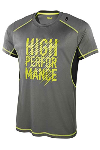 Crivit Herren Funktionsshirt Shirt Fitness Grau/Neongelb L 52/54