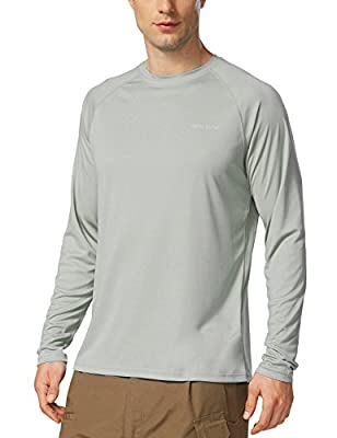BALEAF Men's UPF 50+ Outdoor Running Long Sleeve Athletic Workout Hiking Shirt Gray Size L