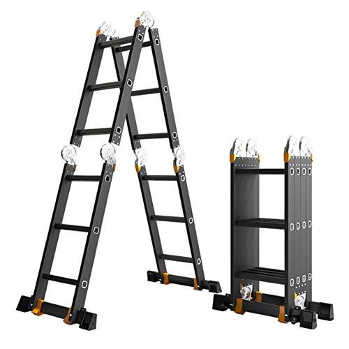 sunyu Escalera Telescópia Pliegue Multifunción Aleación de Aluminio de Engrosamiento Escalera de bambú Altura de la Escalera Recta: 3,7 m
