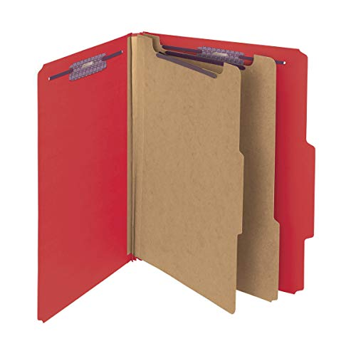 """Smead Pressboard Classification File Folder with SafeSHIELD Fasteners, 2 Dividers, 2"""" Expansion, Letter Size, Bright Red, 10 per Box (14031)"""