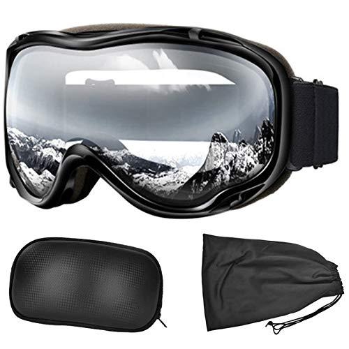 WINFCOY Ski-Snowboardbrille mit Anti-Fog-Doppellinse, UV-Schutz Schneeski-OTG-Brille, Bergsteiger-Schutzbrille für Männer Frauen (Helm kompatibel) (schwarz)