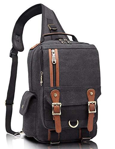 KAUKKO Canvas Leather Crossbody Messenger Bag One Strap Sling Travel Hiking Chest Bag Black