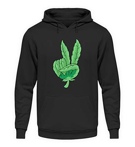 Peace Weed Cannabis Blatt Joint Gras Hanf lustig Kiffer Pulli Drogen - Unisex Kapuzenpullover Hoodie -5XL-Jet Schwarz