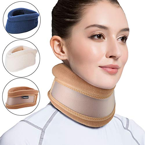 Velpeau Neck Brace -Foam Cervical Collar - Soft Neck Support Relieves Pain & Pressure in Spine - Wraps Aligns Stabilizes Vertebrae - Can Be Used During Sleep (Dual-use, Brown, Medium, 3″)