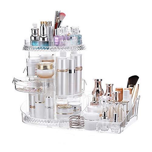 Organisateur cosmétiques Effacer 360 degrés de rotation ronde Organisateur cosmétiques Maquillage affichage de stockage stand Porte Boîte à bijoux Parfums Lipsticks Diviseur Conteneur grande capacité
