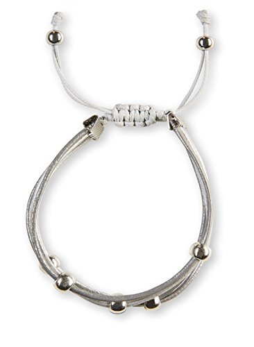 shape me Twisted Lederarmband in Wickeloptik | Trendiges Armband mit Silber farbigen Perlen im Hippie Boho Stil | Armschmuck