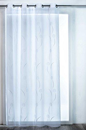 HomeMaison Voilage Osaka Esprit Floral, Polyester, Gris, 260x140 cm