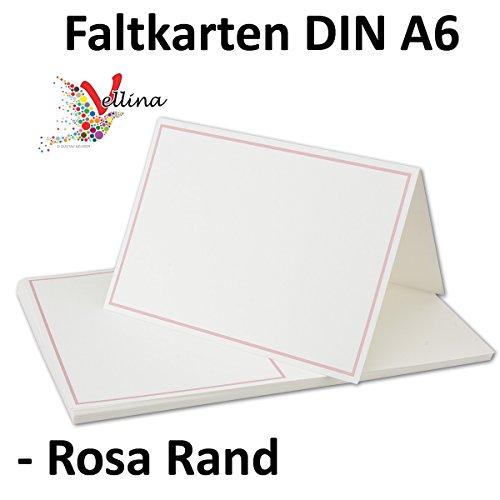 Einladungskarten Faltkarten 25 Stück hochwertige Postkarten in Weiß-Zartrosa mit abgesetztem Rand - Exklusive Doppelkarten in DIN A6 Format