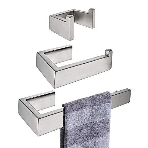 Flybath 3-teiliges Badezimmer Zubehör Set - Handtuchring, Toilettenpapierhalter, Handtuchhaken, SUS 304 Edelstahl Gebürstetes Silber