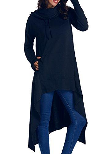 onlypuff Asymmetrical Tops Womens Fashion Sweatshirts Hoodies for Ladies Navy Blue Medium