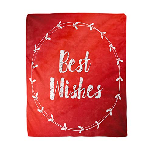 Adowyee 50x60 Inch Soft Decor Throw Blanket Best Wishes Lettering White Mistletoe Wreath on Red Christmas New Year Round Frame Warm Cozy Flannel Bed Blankets for Home Sofa Couch Chair Living Bedroom