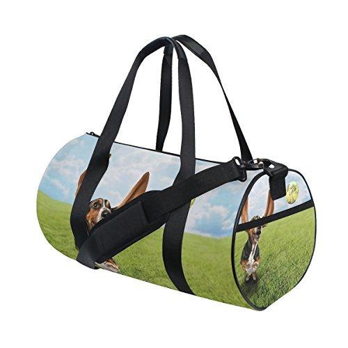 Tizorax Basset Hound Dog chasing tennis Ball palestra borsone bag drum fitness Rooftop rack bag