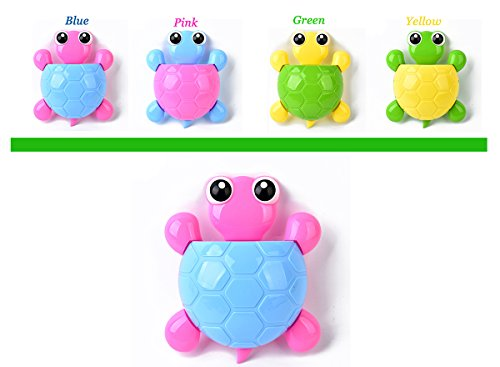 Bestga Creative Cute Cartoon Turtle Kids Wall Suction Cup Mount Toothbrush Toothpaste Holder Pencil Pen Phone Container Box Travel Organizer Plastic Pocket Storage Organizer - Blue Shell