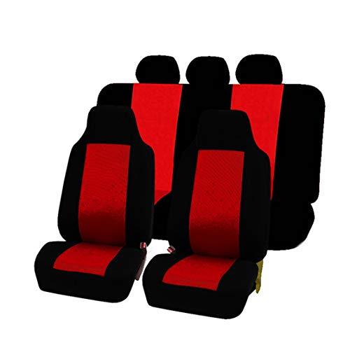 GODGETS Coprisedili Auto Set Completo Universali Anteriori e Posteriori Set Coprisedile,Slittata Resistente all\'Usura Accessori Auto Interno,Nero Rosso,2 * Seater Anteriore + 3 * Seater Posteriore