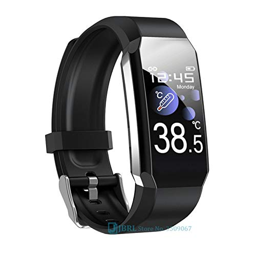 YDL Temperatura Smart Watch Hombres Mujeres SmartWatch Fitness Tracker Sport Impermeable Smart Pulsera para Android iOS Smart-Watch (Color : T3 Black)