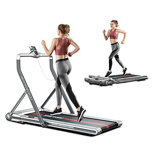 RHYTHM FUN Treadmill Folding Treadmill Under Desk Walking Treadmill with Foldable Handtrail Wide Tread Belt Super Slim Mini Quiet Home Treadmill with Smart Remote Control and Workout App (Silver)