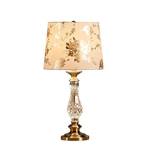 Decoración de muebles Lámparas de mesa Estilo moderno europeo Lámpara de mesa de cristal de lujo Pantalla de tela de lino Dormitorio Lámpara de lectura junto a la cama Sala de estar Estudio Lámpara