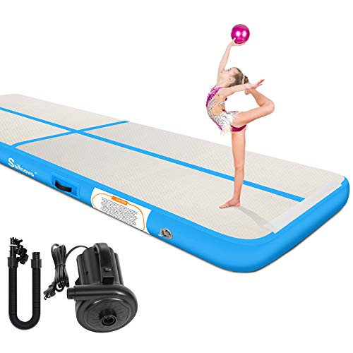 Air Track Sailnovo Inflatable Gymnastics Mat Training Tumbling Mat with Electric Pump20/16/13/10ft4/8in Thickness for Home Use/Gym/Cheerleading/Yoga/Beach/Gifts for Children