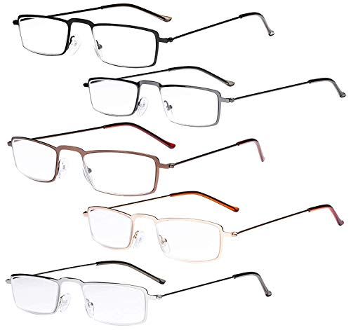 Eyekepper 5-Pack rostfrei Staal Frame Halb-Augen Stil Lesebrille Leser +1.25