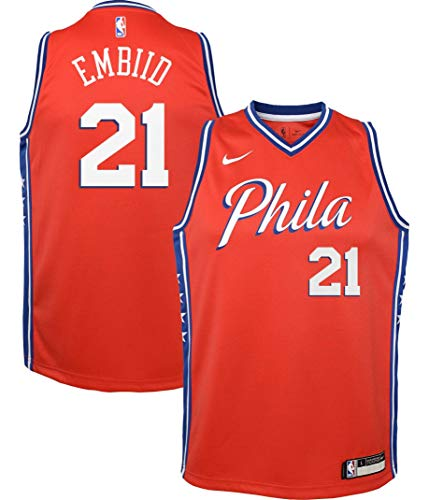Nike Youth Philadelphia 76ers Joel Embiid #21 Red Dri-FIT Statement Swingman Jersey (Large)