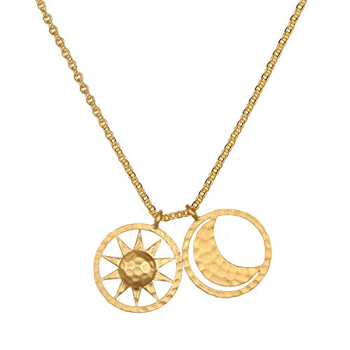 Satya Jewelry Kette Damen Gold - Balance Necklace mit 2 Coin Anhänger Mond und Sonne - Silber 925 Vergoldet - NG41-SM-L18-B