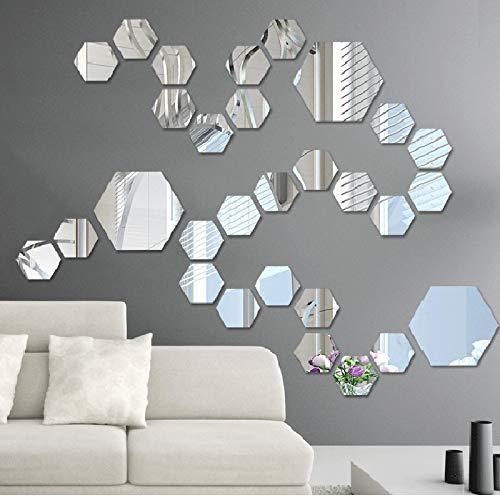 Pegatinas de pared hexagonales de espejo tridimensionales para sala de estar, entrada, pasillo y escaleras, pintura decorativa