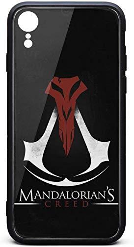 Funda para iPhone Xr Mandalorian's-Creed-Black-Poster- Unisex de moda de vidrio templado negro antiarañazos TPU goma parachoques cubierta trasera