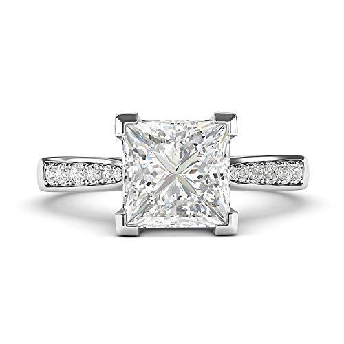 LANDA JEWEL Mujer Niña Unisex Niños Femenino. 0.925 plata de ley princess-shape round-brilliant-shape blanco excepcional +/incoloro/d Diamante sintético