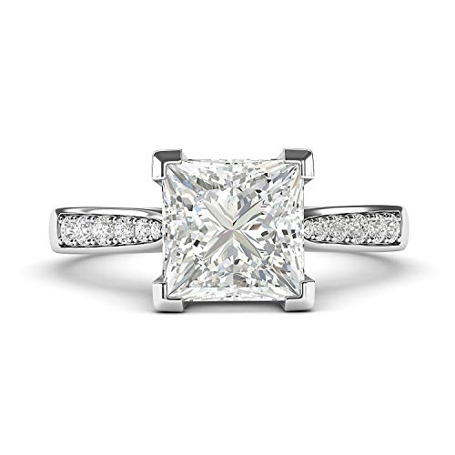 Sterling Silver Solitaire 1.5ct Simulated Princess Cut Diamond Engagement Ring with Side Stones Promise Bridal Ring (4.5)