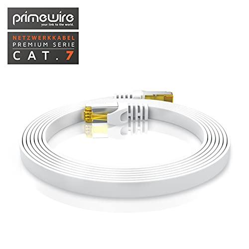 0,5m CAT 7 Netzwerkkabel Flach - Ethernet Kabel - Gigabit Lan 10 Gbit s - Patchkabel - Flachbandkabel - Verlegekabel - Cat.7 Rohkabel U FTP PIMF Schirmung mit RJ 45 Stecker - Switch Router Modem