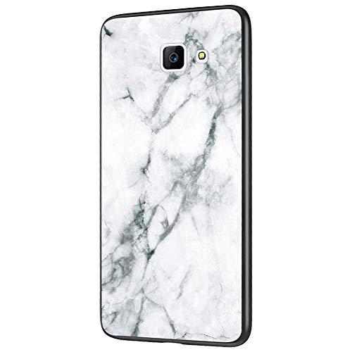 QPOLLY Compatible avec Samsung Galaxy J4 Plus 2018 Coque, Brillante Marbre Motif Arrière en Verre Trempé Ultra Mince Souple TPU Silicone Bumper Antichoc Anti-Rayures Housse Etui de Protection,Blanc