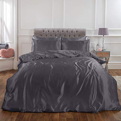 Sienna Full Silky Satin Duvet Cover with Pillowcases Shiny Bedding Set, Silver Grey, Double